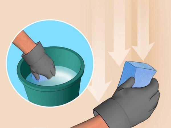Окрашенные места можно вытирать влажной губкой