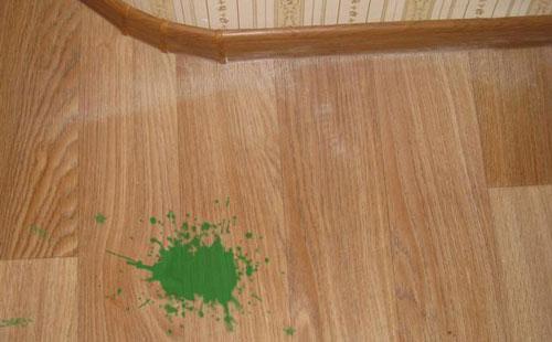 Как очистить линолеум от краски