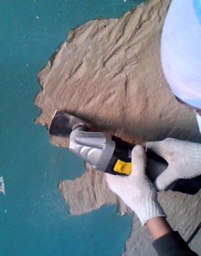 Удаление краски с бетона